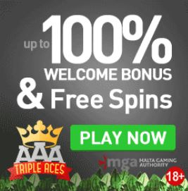 Triple Aces welcome bonus